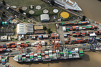 ARGENTINA, Buenos Aires, aerial view of container port, vessel of Italia shipping company