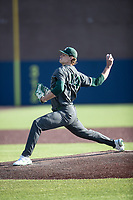 Michigan State pitcher Adam Berghorst (44) delivers a pitch to the plate against the Michigan Wolverines on March 21, 2021 in NCAA baseball action at Ray Fisher Stadium in Ann Arbor, Michigan. Michigan scored 8 runs in the bottom of the ninth inning to defeat the Spartans 8-7. (Andrew Woolley/Four Seam Images)