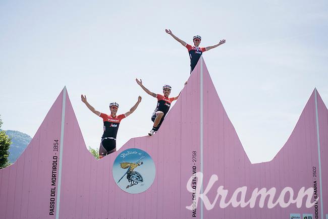 Jasper Stuyven (BEL/Trek-Segafredo), Mads Pedersen (DEN/Trek-Segafredo) & Eugenio Alafaci (ITA/Trek-Segafredo) conquering the infamous Stelvio on the training ride<br /> <br /> restday 3 training ride with Team Trek-Segafredo<br /> 100th Giro d'Italia 2017