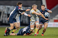 27th December 2020; AJ Bell Stadium, Salford, Lancashire, England; English Premiership Rugby, Sale Sharks versus Wasps; Ben Morris of Wasps passes the ball as he is tackled by Cobus Weise of Sale Sharks