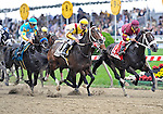 09 May 16:  Calvin Borel rides filly Rachel Alexandra (no. 13) past the stands for the first time on his way to victory in the 134th running of the grade 1 Preakness Stakes for three year olds at Pimlico Race Track in Baltimore, Maryland.