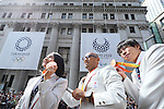 (L-R) Sae Tsuji, Atsushi Yamamoto, Keichi Nakamura (JPN), <br /> OCTOBER 7, 2016 :<br /> Japanese medalists of Rio 2016 Olympic and Paralympic Games wave to spectators during a parade from Ginza to Nihonbashi, Tokyo, Japan.<br /> (Photo by Yohei Osada/AFLO SPORT)