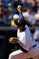 New York Yankees pitcher Domingo Acevedo (95) during a Spring Training game against the Toronto Blue Jays on February 22, 2020 at the George M. Steinbrenner Field in Tampa, Florida.  (Mike Janes/Four Seam Images)