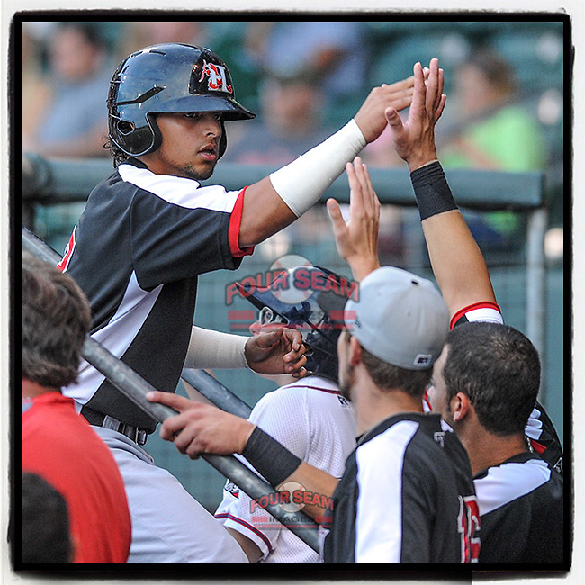"""#OTD On This Day, September 2, 2012, second baseman Rougned Odor of the Hickory Crawdads had one hit and scored a run in a game against the Greenville Drive at Fluor Field at the West End in Greenville, South Carolina. Odor has played for the Texas Rangers for the past seven years. So far in 2020 he has appeared in 22 games for the Rangers. (It's pronounced """"roog-ned."""") (Tom Priddy/Four Seam Images) #MiLB #OnThisDay #MissingBaseball #nobaseball #stayathome #minorleagues #minorleaguebaseball #Baseball #SallyLeague #AloneTogether"""