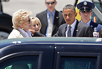 President Barack Obama Las Vegas Mayor Carolyn Goodman ,L, and  Susan Brager as he exits Air Force One  arriving in Las Vegas, Thursday, June 7, 2012.   Obama will speak at the University of Nevada, Las Vegas, to promote ways to help students pay off loans in a struggling economy.  (Photo John Gurzinski)