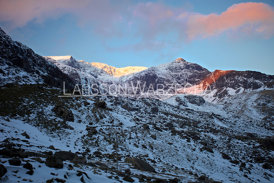 Winter sunrise over Llanberis Pass, North Wales, United Kingdom