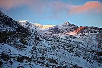 Winter sunrise over Llanberis Pass, North Wales, United Kingdom