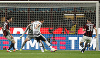 Calcio, Serie A: Milan vs Juventus. Milano, stadio San Siro, 9 aprile 2016. <br /> Juventus' Mario Mandzukic, second from right, kicks to score during the Italian Serie A football match between AC Milan and Juventus at Milan's San Siro stadium, 9 April 2016.<br /> UPDATE IMAGES PRESS/Isabella Bonotto