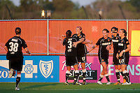 Western New York Flash players celebrate the team's second goal. The Western New York Flash defeated Sky Blue FC 2-0 during a Women's Professional Soccer (WPS) match at Yurcak Field in Piscataway, NJ, on July 17, 2011.