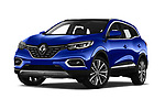 Stock pictures of low aggressive front three quarter view of 2019 Renault Kadjar Intens 5 Door SUV Low Aggressive