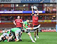 14th September 2020; Kingsholm Stadium, Gloucester, Gloucestershire, England; English Premiership Rugby, Gloucester versus Harlequins; Danny Care of Harlequins kicks under pressure from Ed Slater of Gloucester