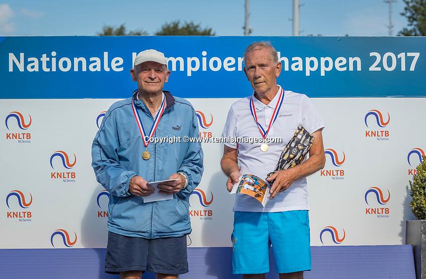 Etten-Leur, The Netherlands, August 27, 2017,  TC Etten, NVK, Winner men's 80+, Jack Leonhart (R) and runner up Theo de Waal<br /> Photo: Tennisimages/Henk Koster