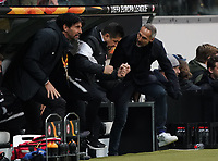 Siegesjubel Trainer Adi Hütter (Eintracht Frankfurt), Co-Trainer Christian Peintinger (Eintracht Frankfurt), Sportmanager Bruno Hübner (Eintracht Frankfurt) - 20.02.2020: Eintracht Frankfurt vs. RB Salzburg, UEFA Europa League, Hinspiel Round of 32, Commerzbank Arena DISCLAIMER: DFL regulations prohibit any use of photographs as image sequences and/or quasi-video.
