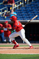 Clearwater Threshers pinch hitter Cornelius Randolph (2) follows through on a swing during the first game of a doubleheader against the Palm Beach Cardinals on April 13, 2017 at Spectrum Field in Clearwater, Florida.  Clearwater defeated Palm Beach 1-0.  (Mike Janes/Four Seam Images)