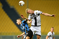 Nicolo Barella of FC Internazionale and Andreas Cornelius of Parma compete for the ball during the Serie A football match between Parma and FC Internazionale at stadio Ennio Tardini in Parma ( Italy ), June 28th, 2020. Play resumes behind closed doors following the outbreak of the coronavirus disease. <br /> Photo Andrea Staccioli / Insidefoto