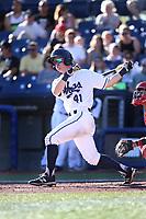 Camden Duzenack (41) of the Hillsboro Hops bats against the Spokane Indians at Ron Tonkin Field on July 22, 2017 in Hillsboro, Oregon. Spokane defeated Hillsboro, 11-4. (Larry Goren/Four Seam Images)