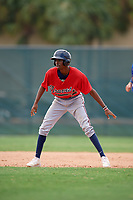 Cabera Weaver (22) while playing for Braves Scout Team/East Cobb based out of Marietta, Georgia during the WWBA World Championship at the Roger Dean Complex on October 22, 2017 in Jupiter, Florida.  Cabera Weaver is an outfielder from Decatur, Georgia who attends South Gwinnett High School.  (Mike Janes/Four Seam Images)