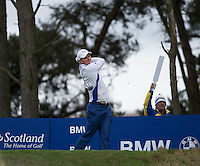 27.09.2014. Gleneagles, Auchterarder, Perthshire, Scotland.  The Ryder Cup.  Justin Rose (EUR) tees off on the third hole. Saturday Foursooms.