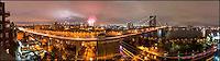 Williamsburg Bridge, Manhattan skyline, East River, FDR Drive during 4th of July fireworks celebration, NYC