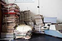 Old files and typewriter at the Nairobi Law Courts.