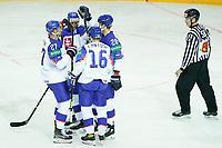 23rd May 2021, Riga Olympic Sports Centre Latvia; 2021 IIHF Ice hockey, Eishockey World Championship, Great Britain versus Slovakia;  16 Robert Lantosi Slovakia makes the score 2-1 and celebrates with 27 Marek Hrivik Slovakia, 34 Peter Cehlarik Slovakia and 28 Martin Gernat Slovakia