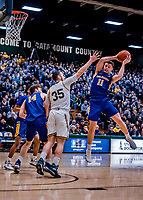 9 February 2019: University at Albany Great Dane Guard Cameron Healy, a Redshirt Freshman from Sydney, Australia, pulls in a first-half rebound against the University of Vermont Catamounts at Patrick Gymnasium in Burlington, Vermont. The Catamounts defeated the Danes 67-49 in their America East matchup. Mandatory Credit: Ed Wolfstein Photo *** RAW (NEF) Image File Available ***