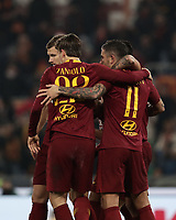 Football, Serie A: AS Roma - Bologna FC, Olympic stadium, Rome, February 18, 2019. <br /> Roma's Aleksandar Kolarov (r) celebrates after scoring with his teammates during the Italian Serie A football match between AS Roma and Bologna FC at Olympic stadium in Rome, on February 18, 2019.<br /> UPDATE IMAGES PRESS/Isabella Bonotto
