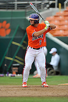 Junior infielder Andrew Cox (6) (Belton-Honea Path High School) of the Clemson Tigers in a fall practice intra-squad Orange-Purple scrimmage on Saturday, September 26, 2015, at Doug Kingsmore Stadium in Clemson, South Carolina. (Tom Priddy/Four Seam Images)