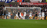 Wednesday, 01 January 2014<br /> Pictured: Fernandinho of Manchester City (25) scoring the opening goal.<br /> Re: Barclay's Premier League, Swansea City FC v Manchester City at the Liberty Stadium, south Wales.
