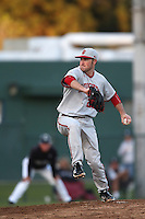 Joey DeNato #23 of the Indiana Hoosiers pitches against the Long Beach State Dirtbags at Blair Field on March 14, 2014 in Long Beach, California. Long Beach State defeated Indiana 4-3. (Larry Goren/Four Seam Images)