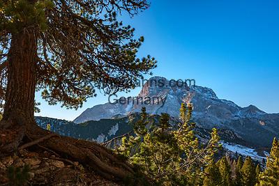 Italien, Suedtirol (Trentino - Alto Adige), Naturpark Fanes-Sennes-Prags: auf dem Dolomiten Hoehenweg Nr. 3 vom Hochplateau Plaetzwiesen zum Strudelkopf mit Blick auf die Cristallogruppe (links) und die Dolomiti d'Ampezzo   Italy, South Tyrol (Trentino - Alto Adige), Fanes-Sennes-Prags Nature Park: on Dolomites Alta via no. 3 view from High Plateau Plaetzwiesen at Hohe Gaisl, highest summit of the Prags Dolomites