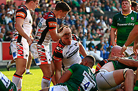 9th October 2021; Brentford Community Stadium, Brentford, London; Gallagher Premiership Rugby, London Irish versus Leicester Tigers; Hanro Liebenberg of Leicester Tigers celebrates with Ben Youngs of Leicester Tigers after scoring a try