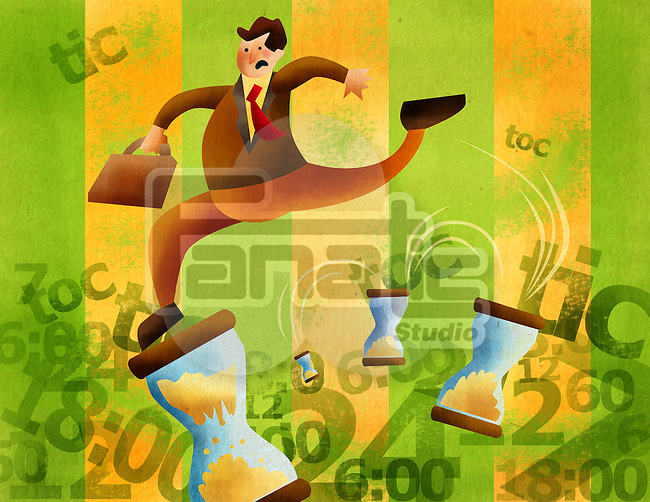 Businessman holding briefcase and running