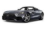 Stock pictures of low aggressive front three quarter view of a 2018 Mercedes Benz AMG GT AMG GT 2 Door Roadster