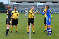 referee Viki De Cremer with Chloe Van Mingeroet (17 of Aalst) and Silke Vanwynsberghe (21 of Gent)  pictured during a female soccer game between Eendracht Aalst and AA Gent Ladies on the 10 th matchday of the 2020 - 2021 season of Belgian Scooore Womens Super League , Saturday 19 th of December 2020  in Aalst , Belgium . PHOTO SPORTPIX.BE | SPP | DIRK VUYLSTEKE