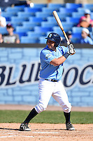 Wilmington Blue Rocks first baseman Mark Donato (28) at bat during a game against the Myrtle Beach Pelicans on April 27, 2014 at Frawley Stadium in Wilmington, Delaware.  Myrtle Beach defeated Wilmington 5-2.  (Mike Janes/Four Seam Images)