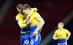 St Johnstone v Hibs…23.01.21   Hampden     BetFred Cup Semi-Final<br />Jason Kerr celebrates his goal with Shaun Rooney<br />Picture by Graeme Hart.<br />Copyright Perthshire Picture Agency<br />Tel: 01738 623350  Mobile: 07990 594431