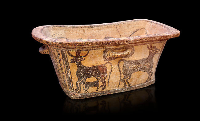 Minoan  pottery bath tub  larnax decorated with a cow nursing a calf,  Episkopi-Lerapetra 1350-1250 BC, Heraklion Archaeological  Museum, black background.<br /> <br /> To the Greeks, the Underworld was entered by water. As with many other Minoan bathtubs, this one was probably later used as a coffin to convey the deceased across the sea, where marine imagery would be equally appropriate. The two functions of bathtubs, bathing and burial, combine in the story of Agamemnon who, on return from Troy, was murdered by his wife and her lover in a silver bath.