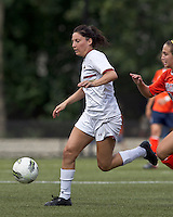 Boston College forward Victoria DiMartino (1) on the attack. Boston College defeated University of Virginia, 2-0, at the Newton Soccer Field, on September 18, 2011.