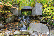 Remnants of the Lincoln Mill era on Pollard Brook in Lincoln, New Hampshire after a few days of rain during the autumn months. This location is at the confluence of Pollard Brook and the East Branch of the Pemigewasset River.