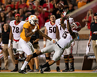KNOXVILLE, TN - OCTOBER 5: Lawrence Cager #15 of the Georgia Bulldogs attempts to catch a pass that was ruled incomplete during a game between University of Georgia Bulldogs and University of Tennessee Volunteers at Neyland Stadium on October 5, 2019 in Knoxville, Tennessee.