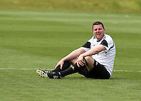 Pictured: Gareth Vincent.Tuesday 06 May 2014<br /> Re: Members of the local press play football against Swansea City FC coaches and members of staff at the Club's training ground in Fairwood, south Wales.