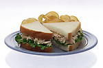 small plate with tuna fish sandwich on white bread with potato chips on shadowless white background