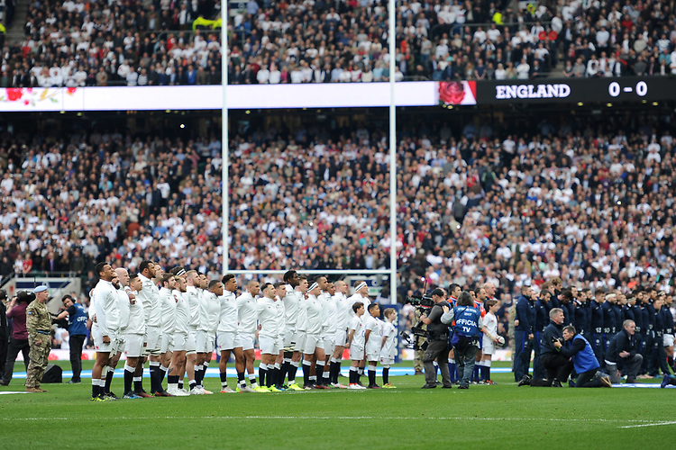 England sing the national anthem ahead of the RBS 6 Nations match between England and Scotland at Twickenham Stadium on Saturday 11th March 2017 (Photo by Rob Munro/Stewart Communications)