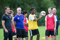 Orlando, FL - Friday Oct. 14, 2016:   Patryk Seppelt-Gorajewski  and candidates observe training during a US Soccer Coaching Clinic in Orlando, Florida.