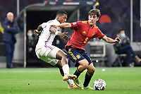 Presnel Kimpembe of France and Pablo Martin Paez Gavira Gavi of Spain during the Uefa Nations League final football match between Spain and France at San Siro stadium in Milano (Italy), October 10th, 2021. Photo Andrea Staccioli / Insidefoto