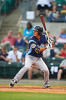 Corpus Christi Hooks shortstop Chan Moon (3) at bat during a game against the Arkansas Travelers on May 29, 2015 at Dickey-Stephens Park in Little Rock, Arkansas.  Corpus Christi defeated Arkansas 4-0 in a rain shortened game.  (Mike Janes/Four Seam Images)