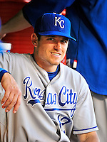 21 June 2010: Kansas City Royals center fielder Mitch Maier sits in the dugout prior to a game against the Washington Nationals at Nationals Park in Washington, DC. The Nationals edged out the Royals 2-1 in the first game of their 3-game interleague series, snapping a 6-game losing streak. Mandatory Credit: Ed Wolfstein Photo