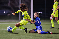 Luna Vanhoudt (43) of KRC Genk battles for the ball with Nia Elyn (24) of AA Gent pictured during a female soccer game between  Racing Genk Ladies and AA Gent Ladies ,  on the 6 th  matchday of the 2021-2022 season of the Belgian Scooore Womens Super League , friday 8 october 2021  in Genk , Belgium . PHOTO SPORTPIX | JILL DELSAUX