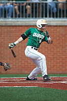 Brett Netzer (9) of the Charlotte 49ers follows through on his swing against the Marshall Thundering Herd at Hayes Stadium on April 23, 2016 in Charlotte, North Carolina. The Thundering Herd defeated the 49ers 10-5.  (Brian Westerholt/Four Seam Images)